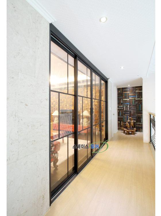 스페이스도어,아파트중문,현관중문,거실중문,중문가격,현관인테리어,중문설치/4짝분합 미서기- 철제도장슬림도어, 투명유리,슬라이딩도어